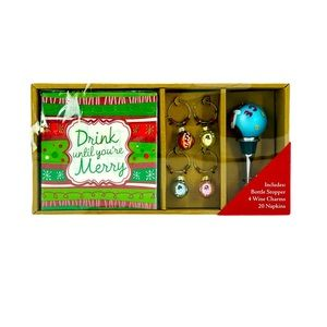 Holiday Bottle Topper & Wine Charms with Napkins